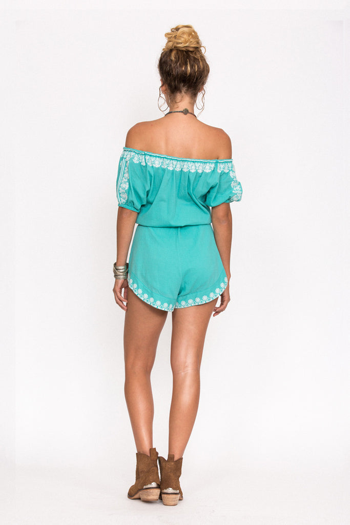 Spell Santorini Embroidered Romper Turquoise - Call Me The Breeze - 5