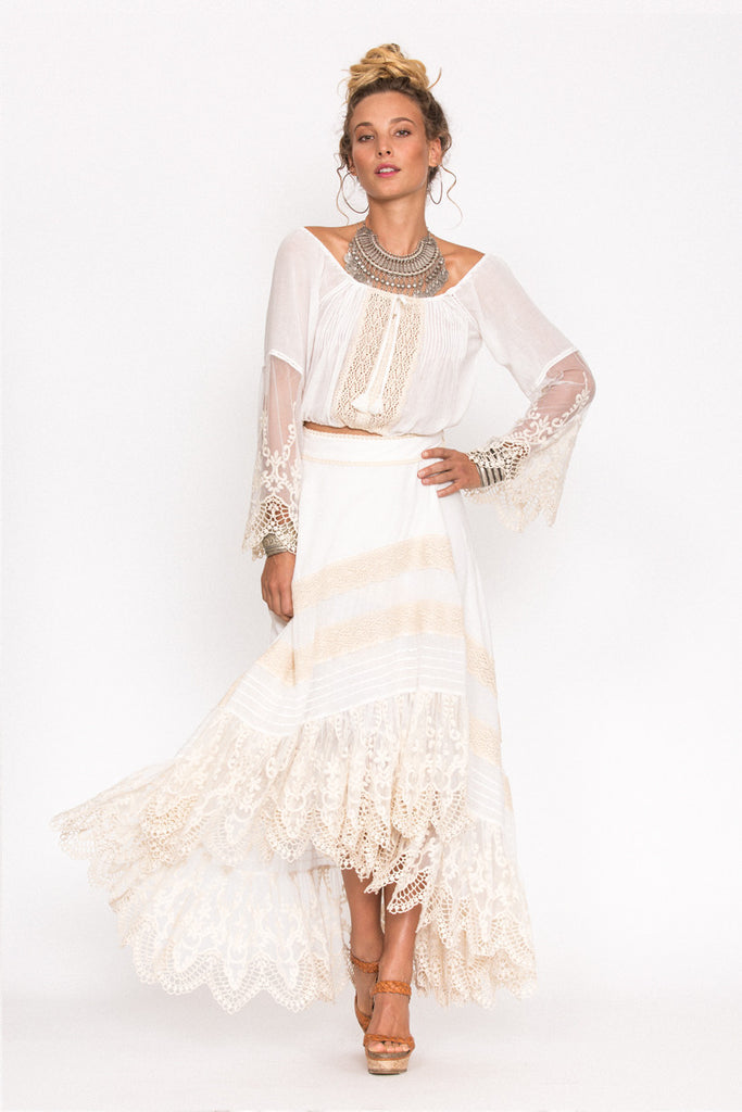 Spell Peasant Girl Wrap Skirt White - Call Me The Breeze - 4