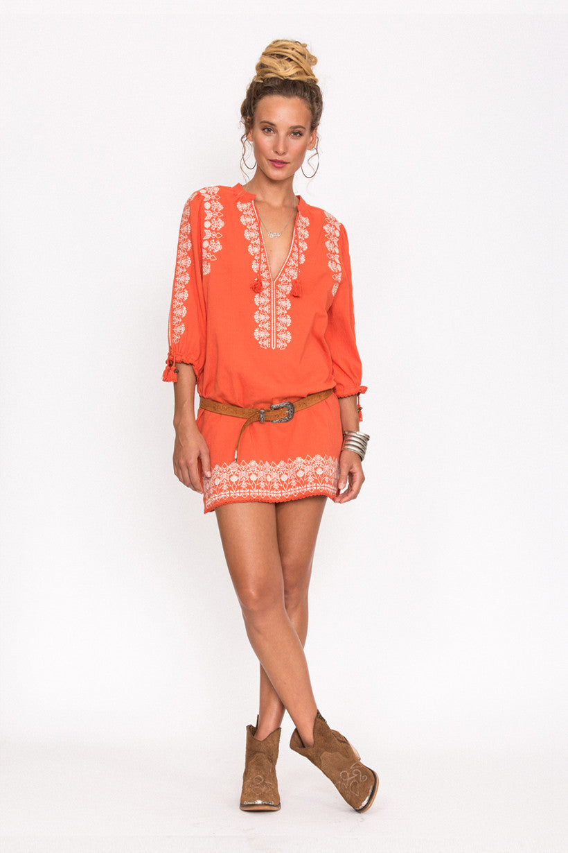 Spell Santorini Embroidered Tunic Dress Burnt Orange - Call Me The Breeze - 4