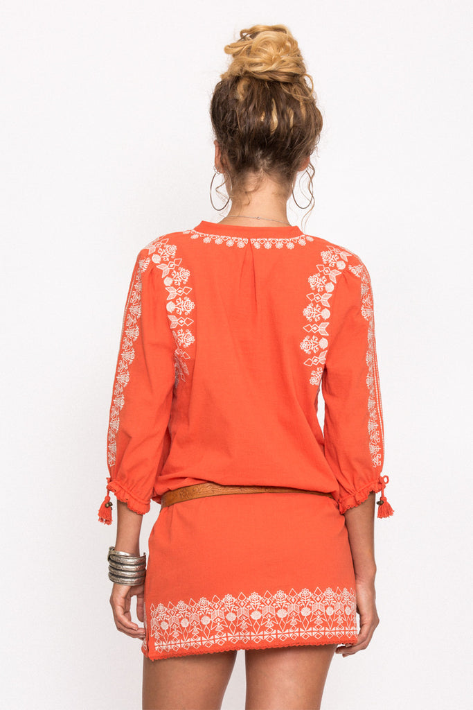 Spell Santorini Embroidered Tunic Dress Burnt Orange - Call Me The Breeze - 5