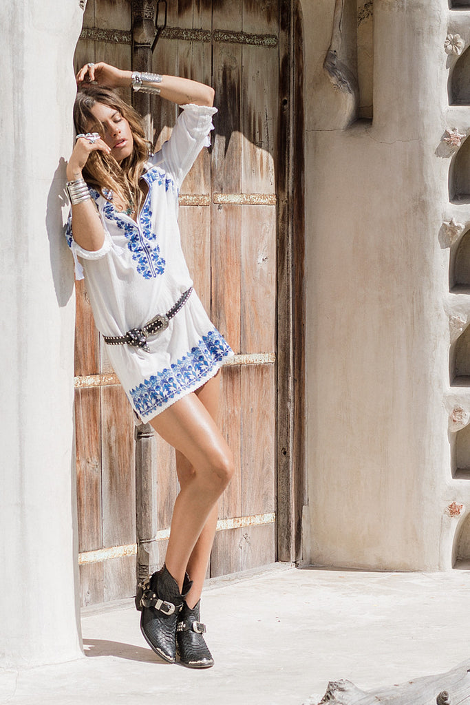 Spell Santorini Embroidered Tunic Dress White - Call Me The Breeze - 2