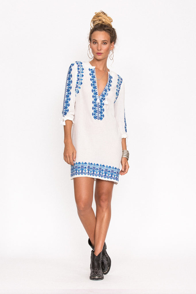 Spell Santorini Embroidered Tunic Dress White - Call Me The Breeze - 4