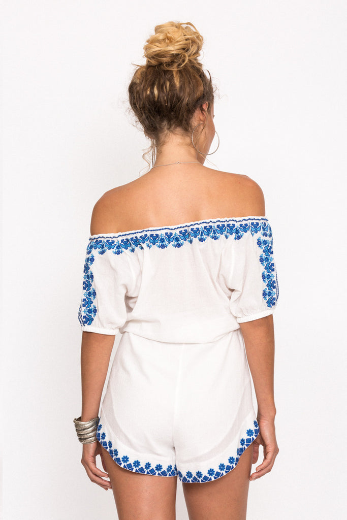 Spell Santorini Embroidered Romper White - Call Me The Breeze - 3