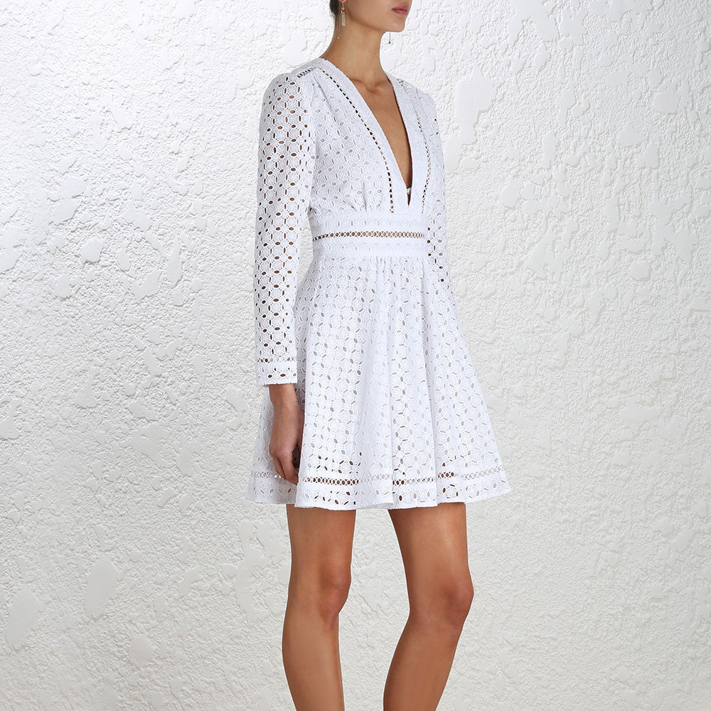 Zimmermann Ryker Broderie Dress White - Call Me The Breeze - 4
