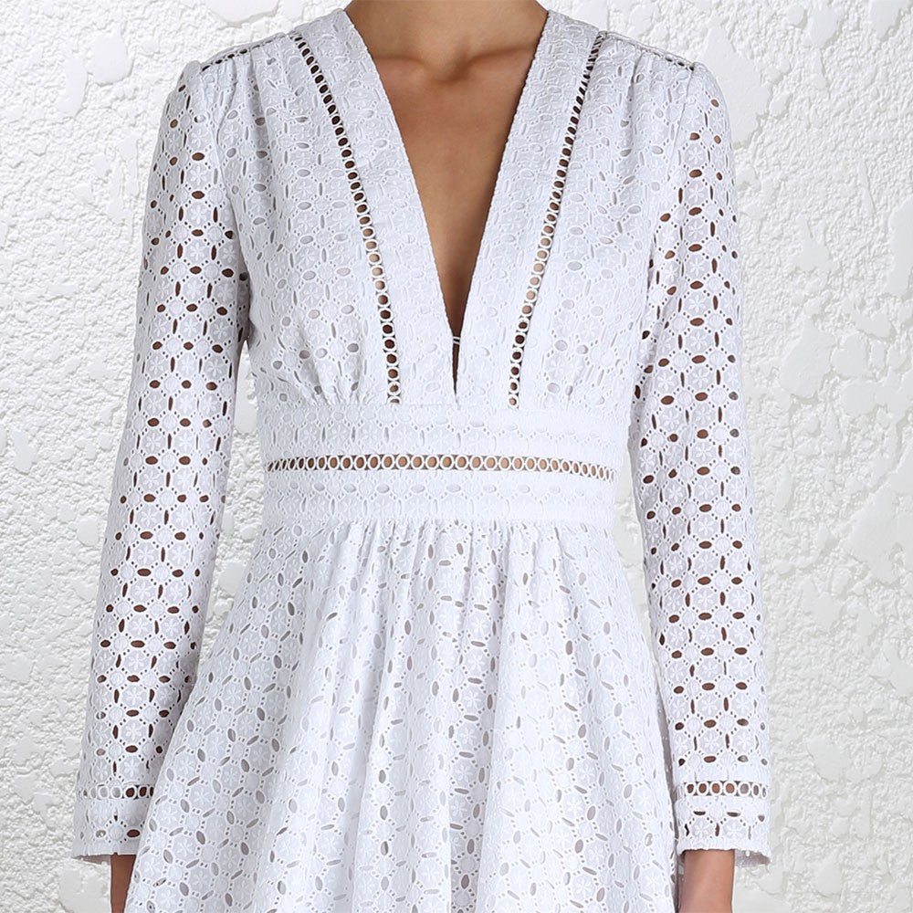 Zimmermann Ryker Broderie Dress White - Call Me The Breeze - 6