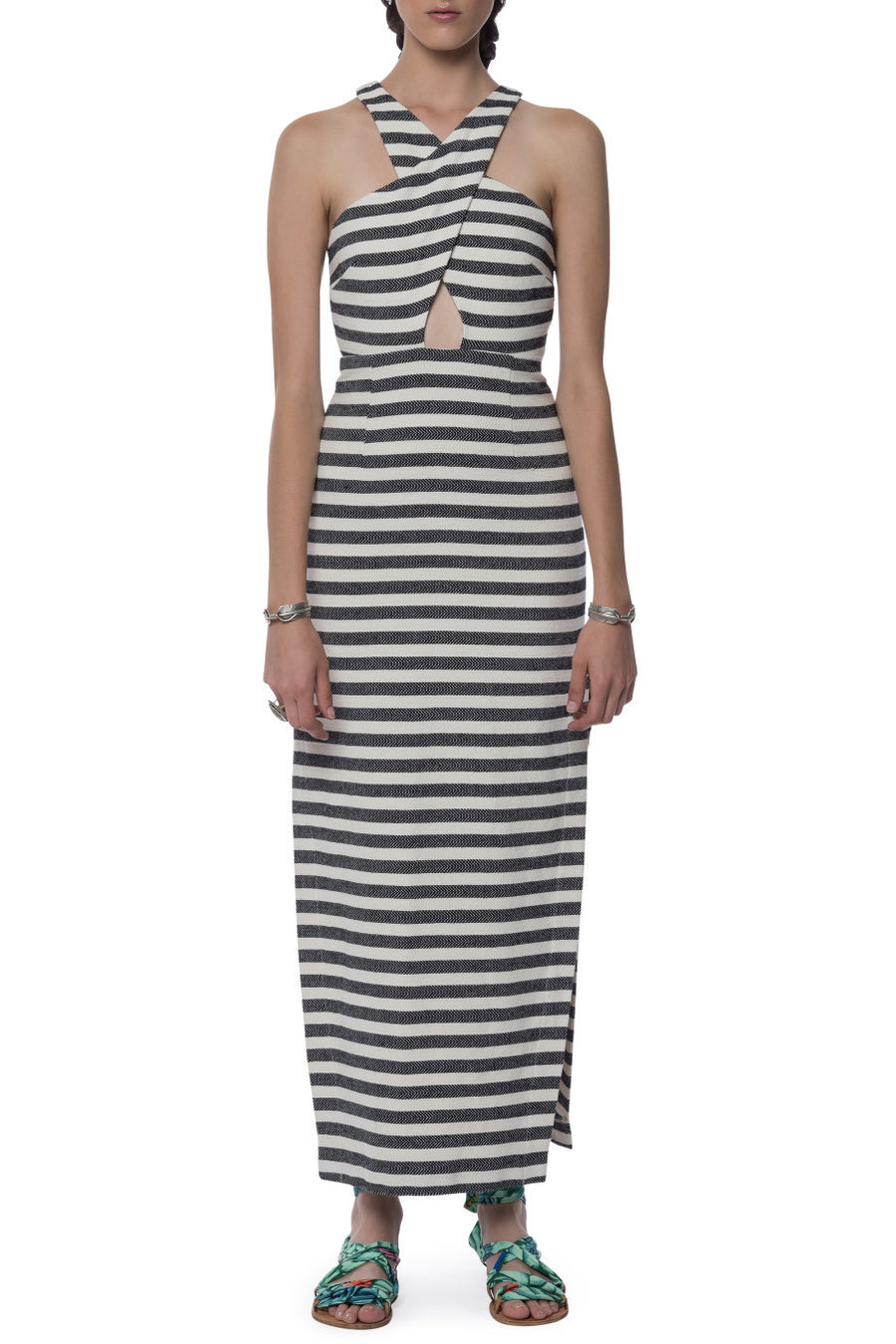 Mara Hoffman Stripe Cross Front Dress Black Cream - Call Me The Breeze - 3