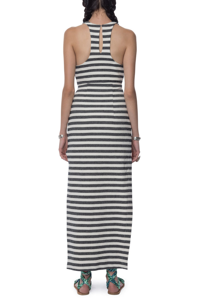 Mara Hoffman Stripe Cross Front Dress Black Cream - Call Me The Breeze - 4