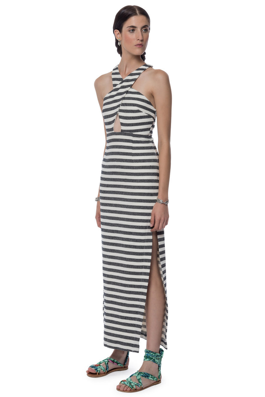 Mara Hoffman Stripe Cross Front Dress Black Cream - Call Me The Breeze