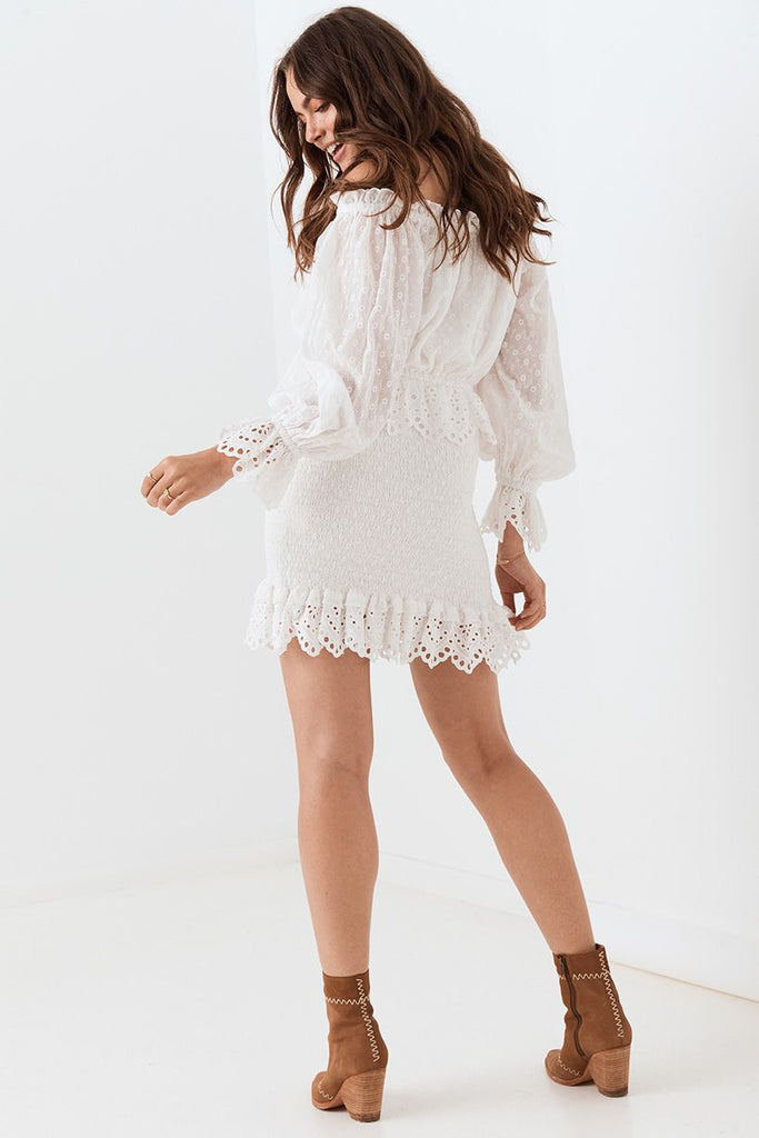 Spell Daisy Chain Ruched Mini Dress White