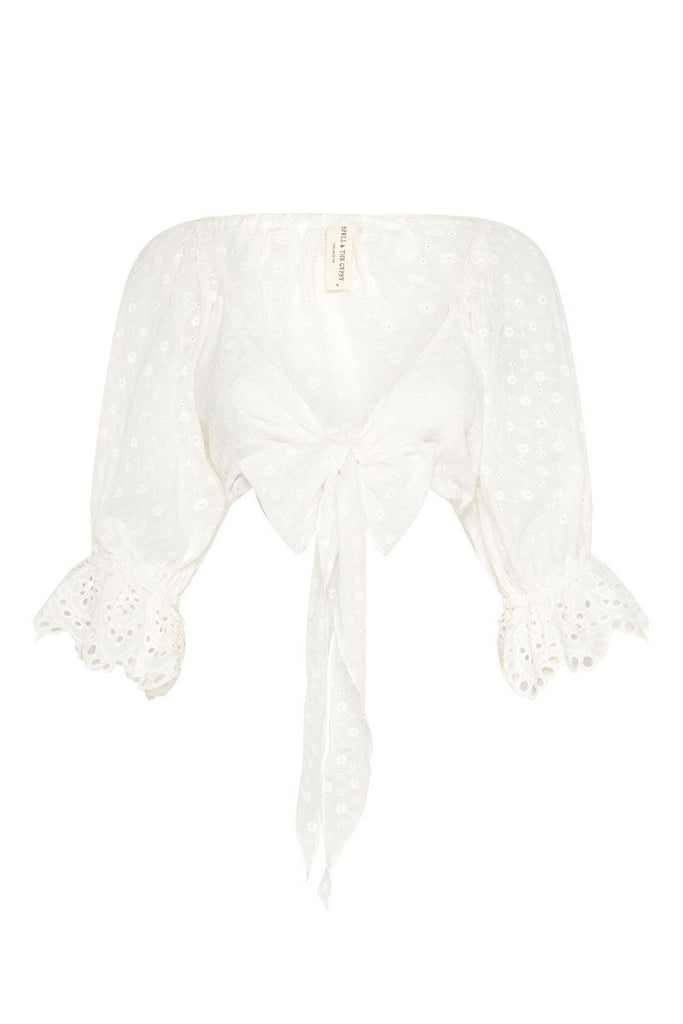 Spell Daisy Chain Tie Top White