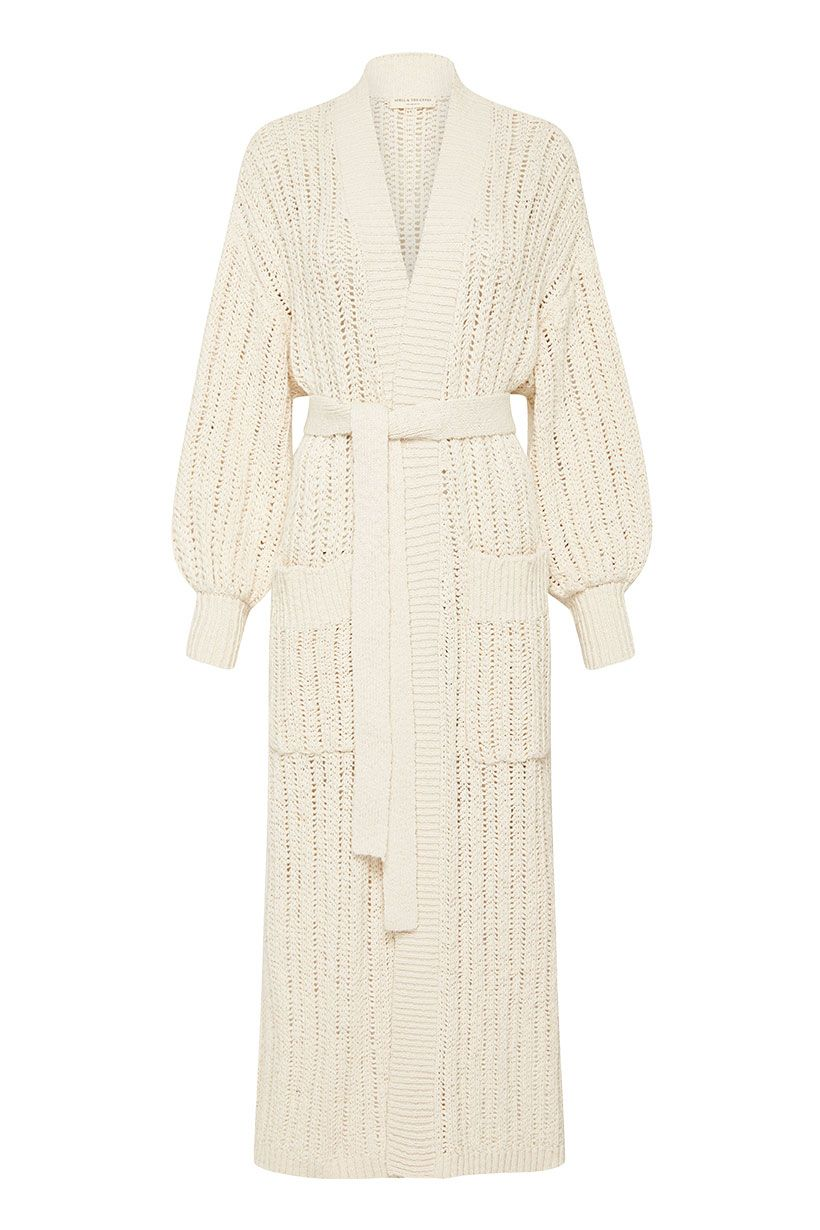Spell Heather Long Knit Cardigan Cream