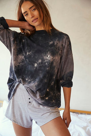 Free People Be Free Tie Dye Tee Charcoal Combo