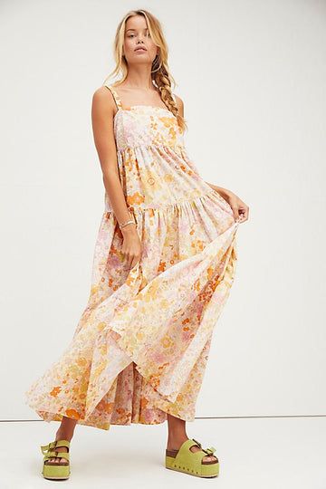 Free People Park Slope Maxi Dress Light Combo