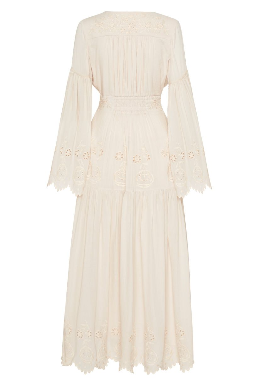 Spell Imogen Embroidered Gown Cream