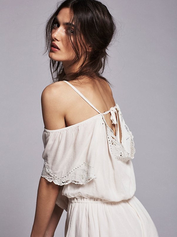 Free People White Romance Romper - Call Me The Breeze - 4