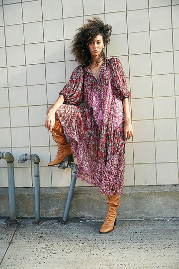 Free People Estelle Chiffon Maxi Pop Combo Wine