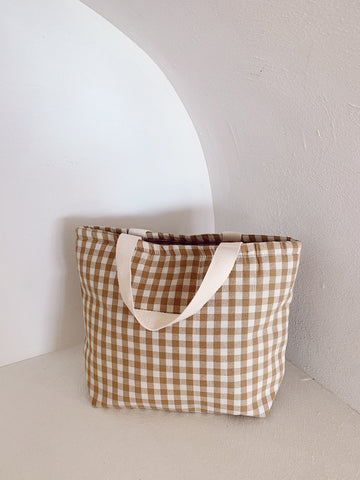 Bonnie Cooler Tote Caramel Check