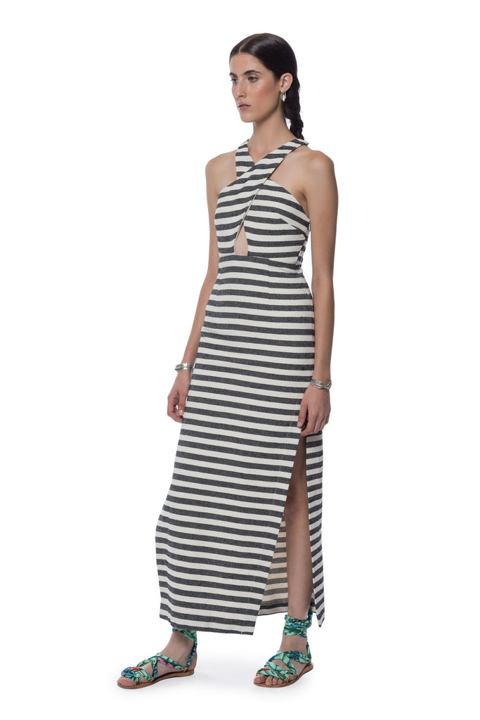 Mara Hoffman Stripe Cross Front Dress Black Cream - Call Me The Breeze - 2