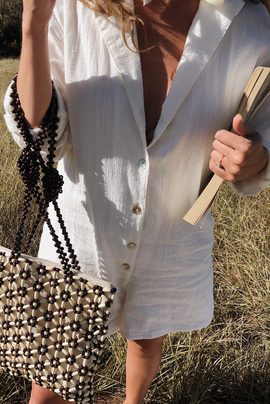 Lucette Beaded Tote Cream Brown Combo