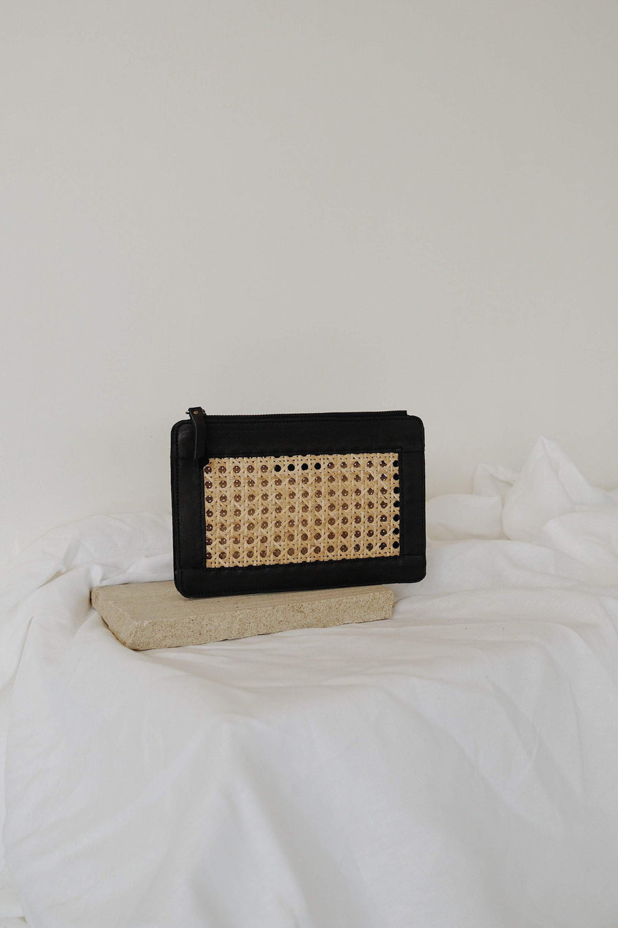 St Agni Hennie Rattan Clutch Black