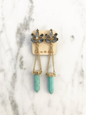 Call Me The Breeze Florence Crystal Drop Earrings Turquoise