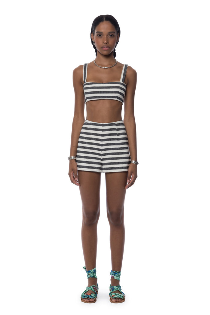 Mara Hoffman Stripe Crop Top Black Cream - Call Me The Breeze