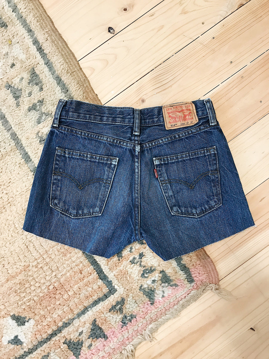 Vintage Levis Denim Shorts Size 27 Dark Rinse