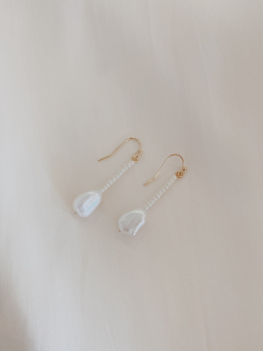 Hanne Pearl Bead Drop Earrings Cream