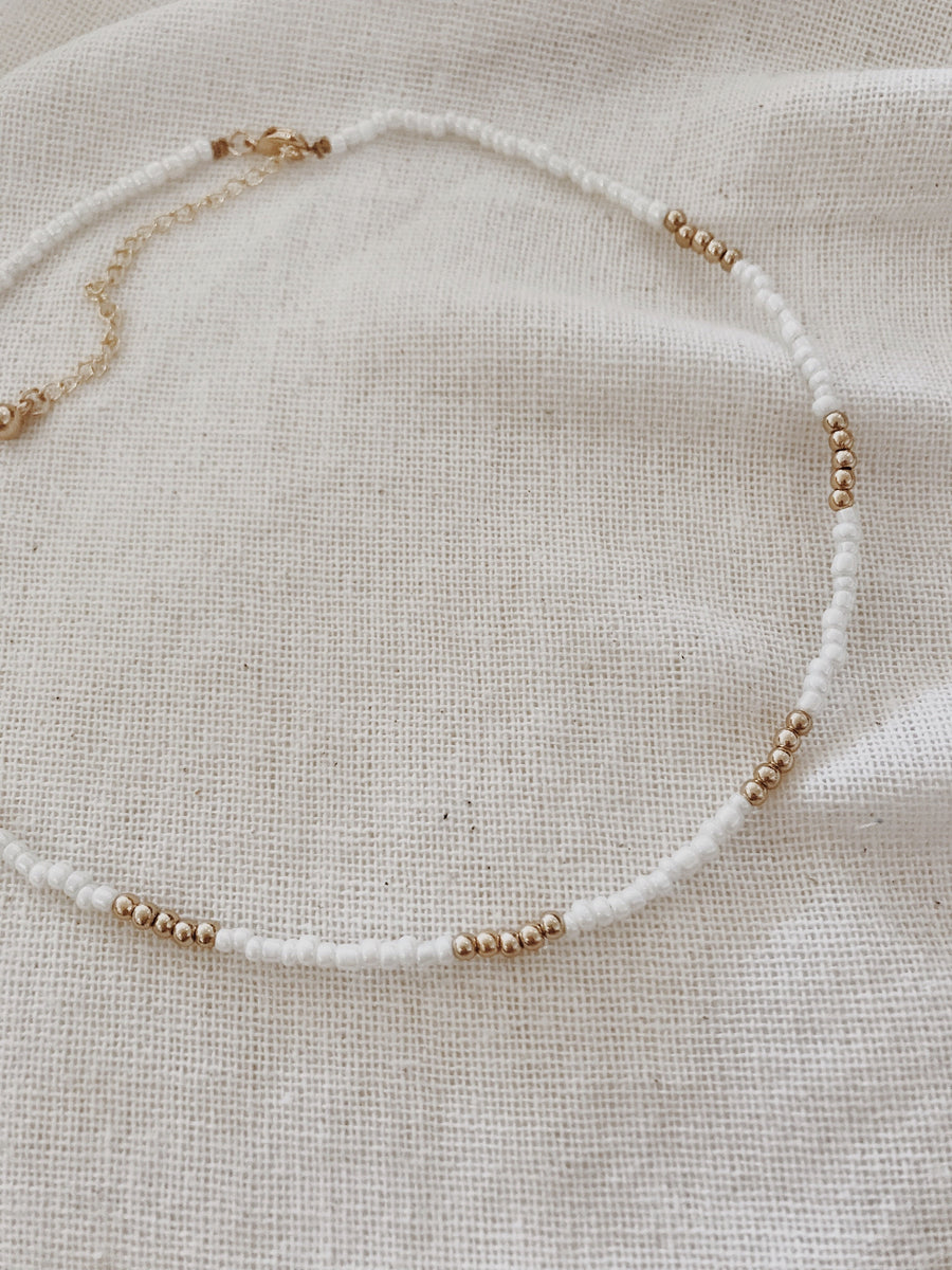 Lila Seed Bead Necklace Milk