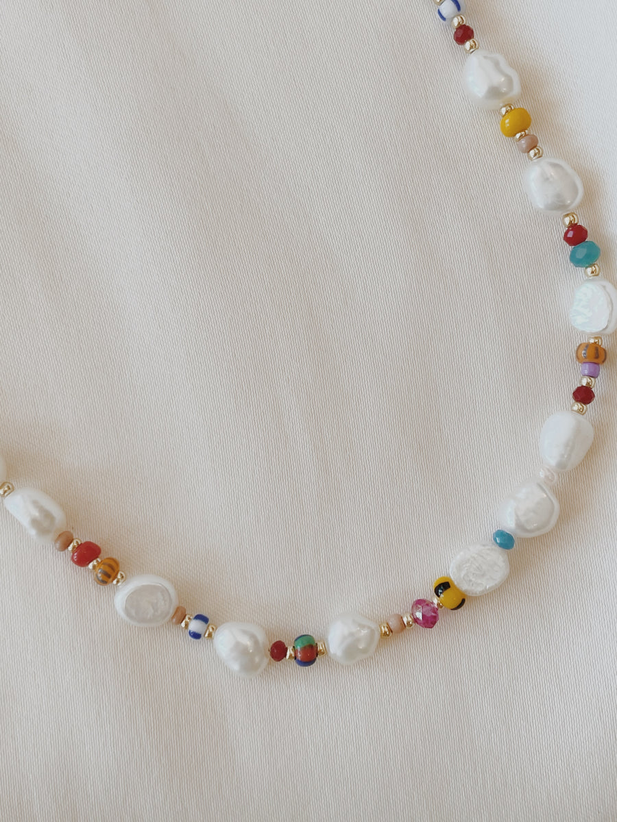 Honor Pearl Rainbow Beaded Necklace