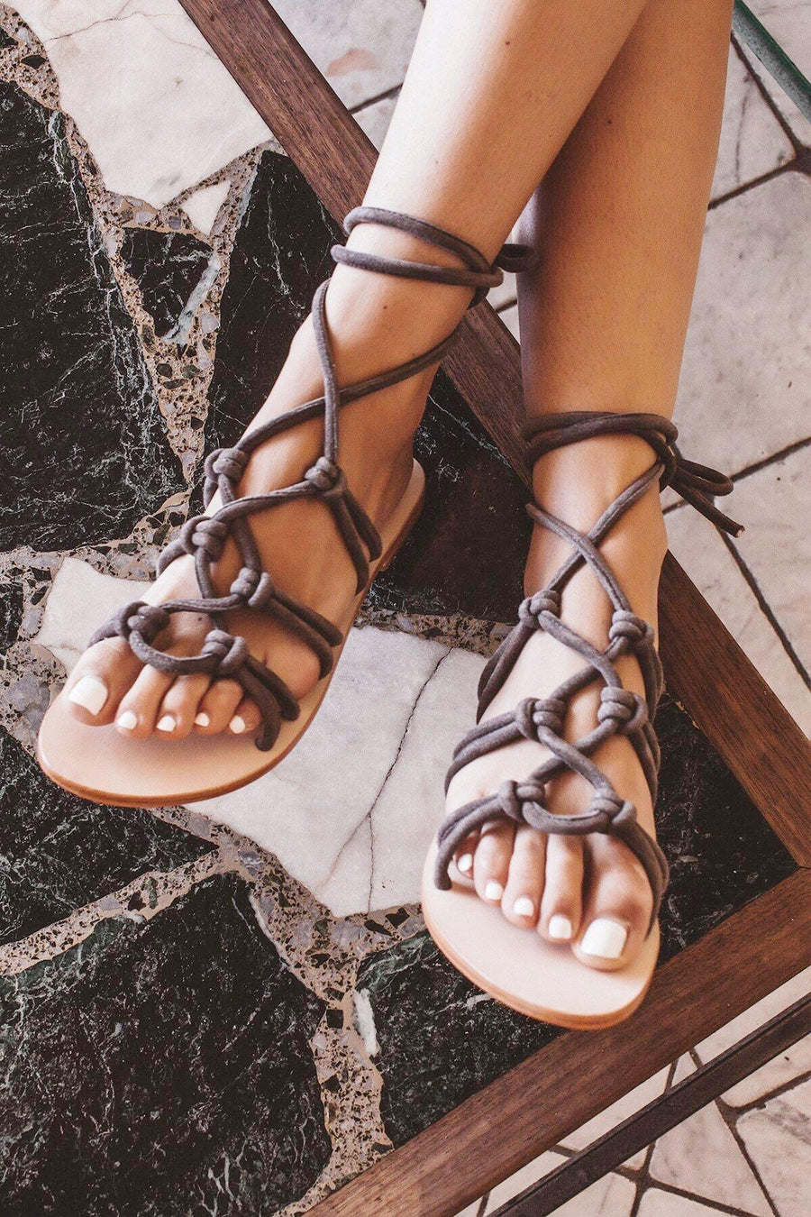 Montana Suede Lace Up Sandals Slate