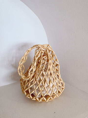 Yara Slouch Beaded Bag Natural