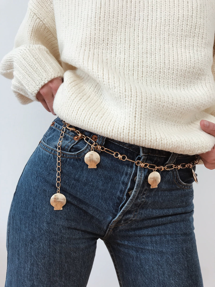 Betty Shell Chain Belt Gold