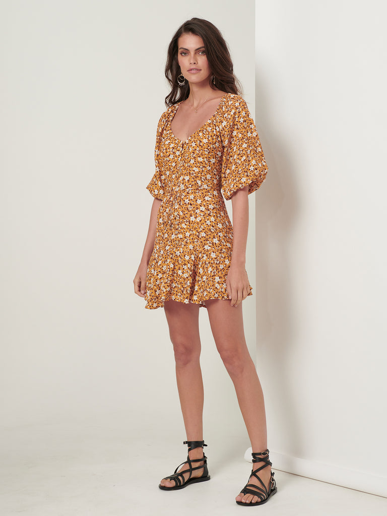 Kivari Odessa Mini Dress Yellow Ditsy