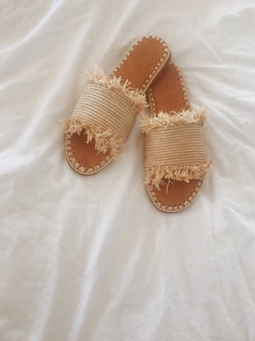 Call Me The Breeze Lola Raffia Slides Natural