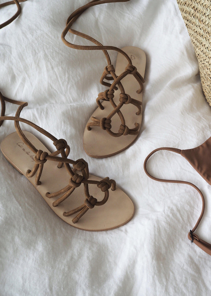 Call Me The Breeze Montana Suede Lace Up Sandals Tan