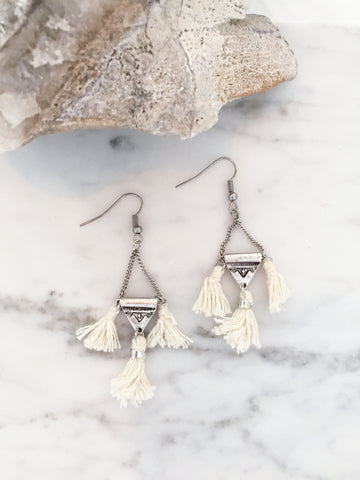 Call Me The Breeze Olive Tassel Earrings Cream