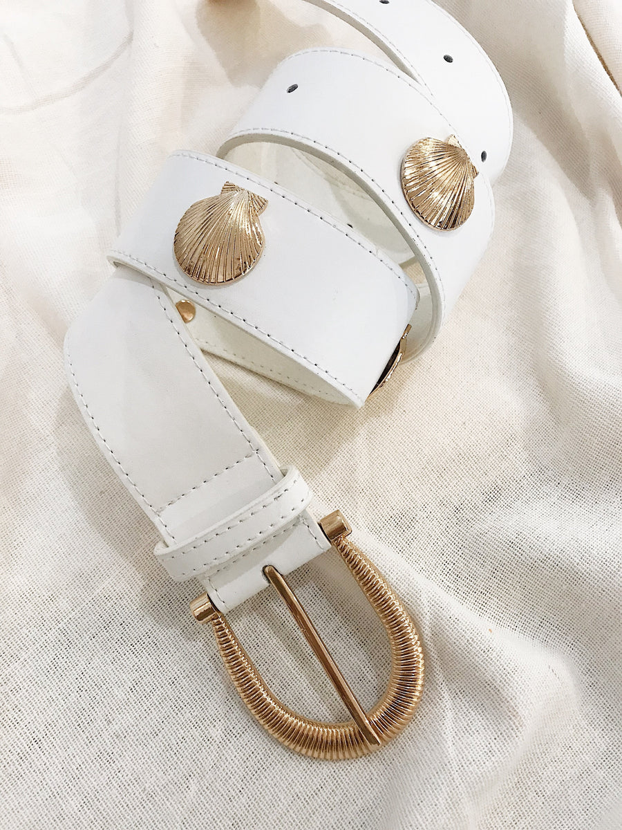 Carolyn Shell Leather Belt Matte White
