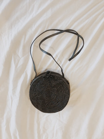 Call Me The Breeze Banjo Basket Bag Round Black