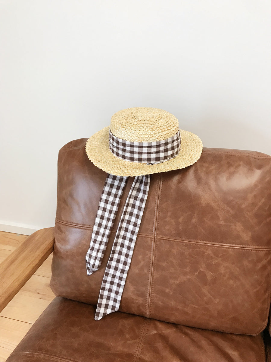 Daphne Straw Boater Chocolate Gingham