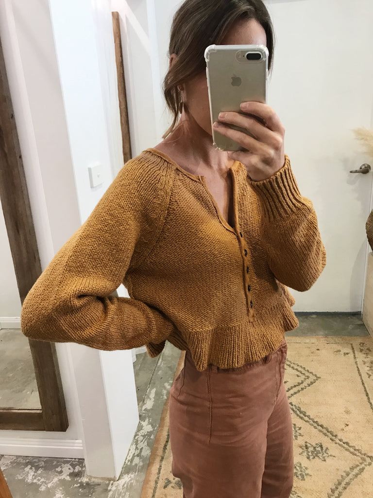 Free People Sweetheart Sweater Henley Mustard