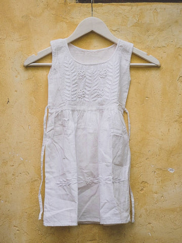 Guatemalan Girls Embroidered Pinafore Dress White Size 6-8