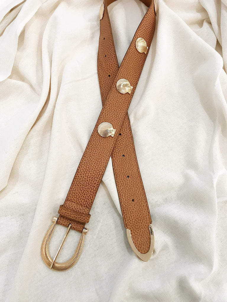 Carolyn Shell Leather Belt Tan Speckle
