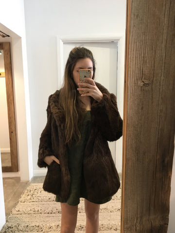 Vintage Fur Jacket Chocolate