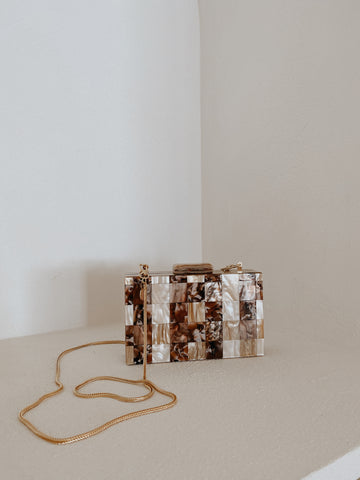 Bek Patchwork Acrylic Clutch with Chain