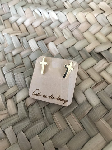 Call Me The Breeze Cross Stud Earrings Gold