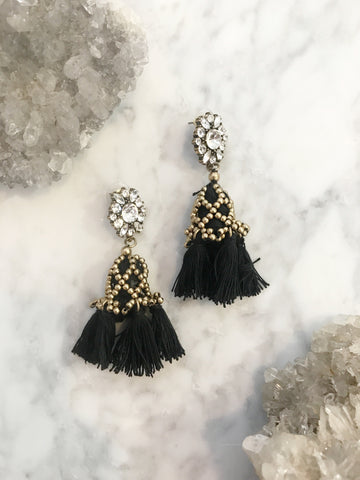 Call Me The Breeze Lulu Tassel Earrings Black