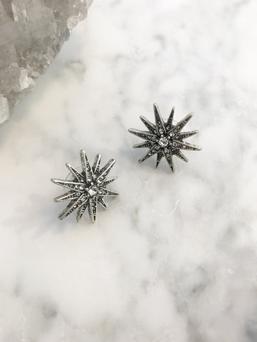 Call Me The Breeze Sunbeam Studs Antique Silver