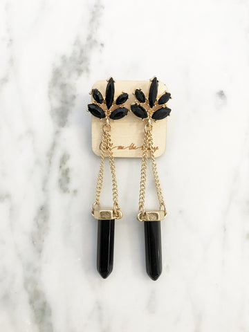 Call Me The Breeze Florence Crystal Drop Earring Black