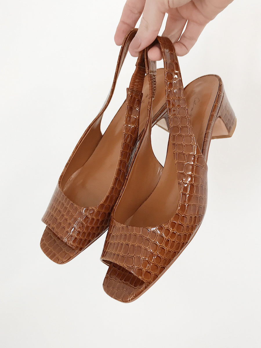 Donna Slingback Toffee Croc